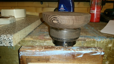 4. The base is fixed in the lather chuck and then successive layers glued on and turned.