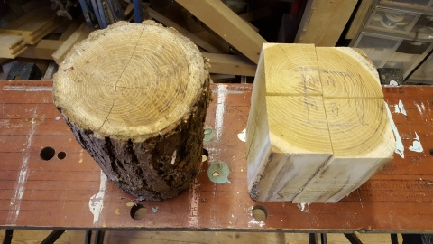 1. Take a log, square it off and cut into quarters